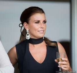 Coleen Rooney holding a wine glass: Drama: Coleen Rooney's WAG pals are reportedly 'freaking out' that Rebekah Vardy may have leaked private information about them (Coleen picturedi n 2018)