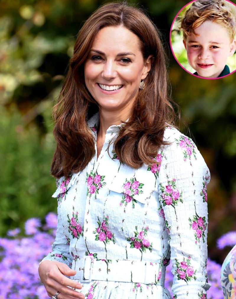 Catherine, Duchess of Cambridge smiling for the camera: Prince George and Kate Middleton.
