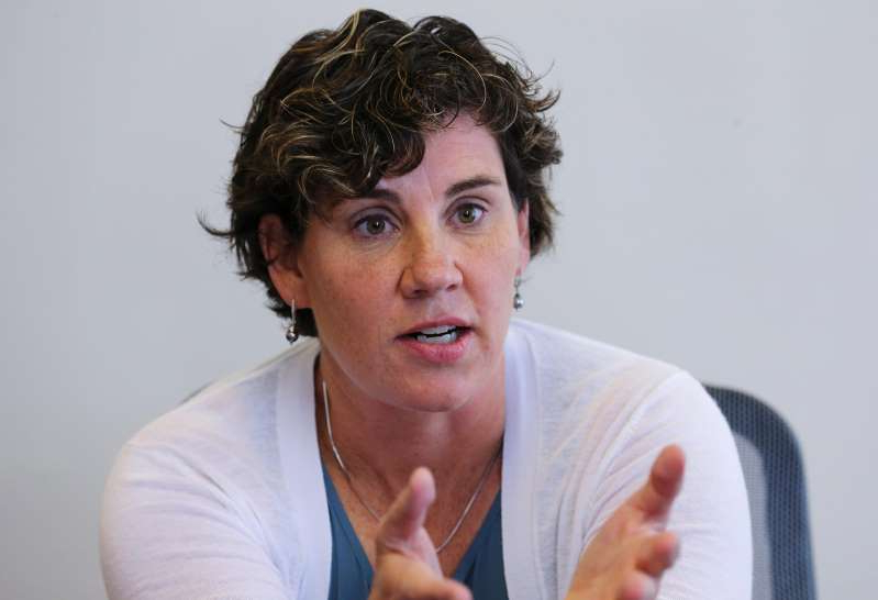 a man looking at the camera: Amy McGrath spoke to the Courier Journal following her announcement that she will challenge Sen. Mitch McConnell for his senate seat in 2020.July 10, 2019