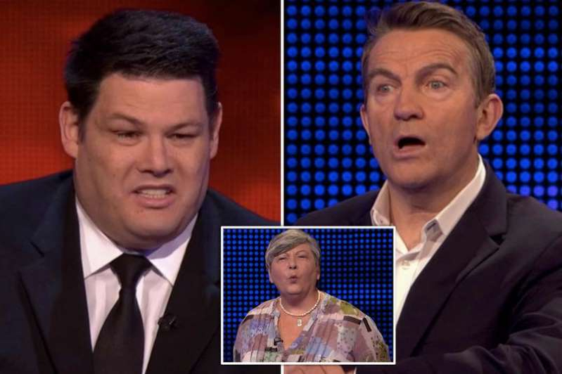 Bradley Walsh, Mark Labbett are posing for a picture: The Chase contestant Eleanor refused to go head to head with Mark 'The Beast' Labbett