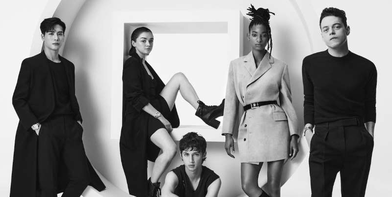 Rami Malek, Willow Smith, Troye Sivan, Maisie Williams posing for a photo: The French luxury brand enlists Rami Malek, Maisie Williams, Troye Sivan, Jackson Wang, and Willow Smith to promote diversity.