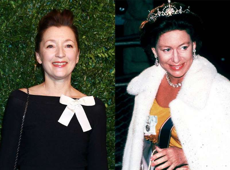 Princess Margaret, Lesley Manville posing for a picture: Kip Rano/Shutterstock, Fred Duval for Getty Images