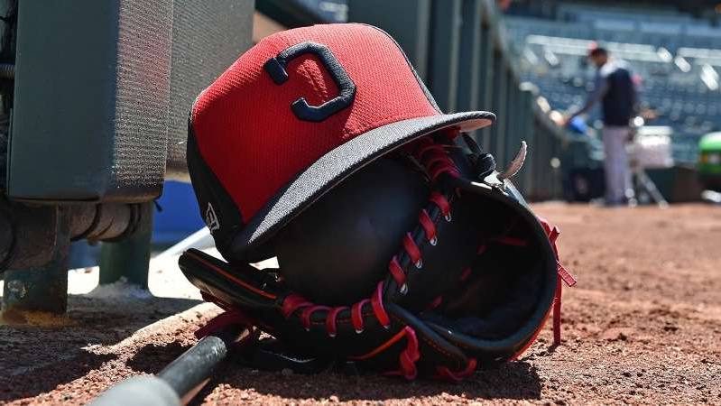May 6, 2017; Kansas City, MO, USA; A general view a Indians hat a glove on the field prior to a game between the Cleveland Indians and the Kansas City Royals at Kauffman Stadium.