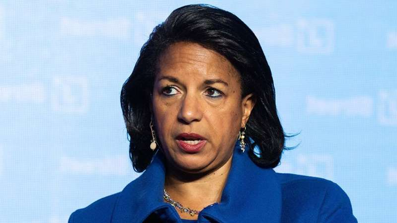 Susan Rice wearing a blue shirt