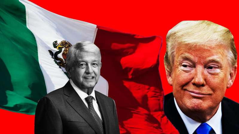 Donald Trump, Andres Manuel Lopez Obrador are posing for a picture