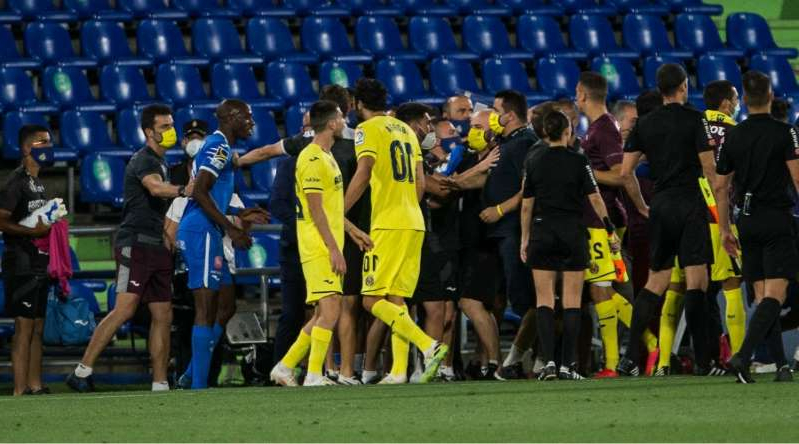 Allan Nyom of Getafe and Vicente Iborra of Villarreal during the spanish league, LaLiga, football match played between Getafe Club Futbol and Villarreal Club Futbol at Alfonso Perez Coliseum on July 8, 2020 in Madrid, Spain.