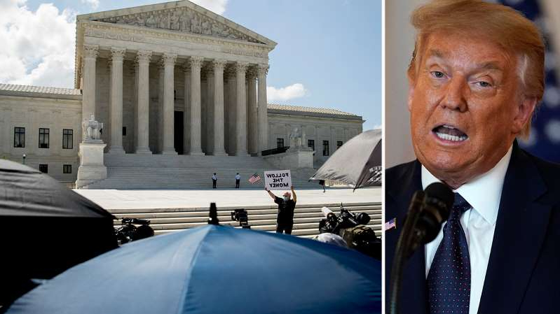 Donald Trump in a suit and tie in front of a building: Kristin Fisher reports from the White House with President Trump's reaction to the Supreme Court rulings on his financial and tax records.