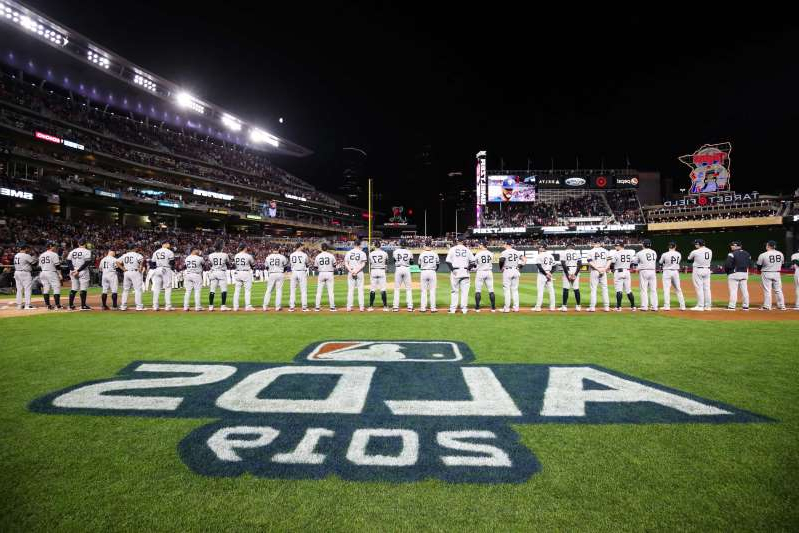 a close up of a football field: A view before Game 3 of the 2019 ALDS between the Yankees and Twins.