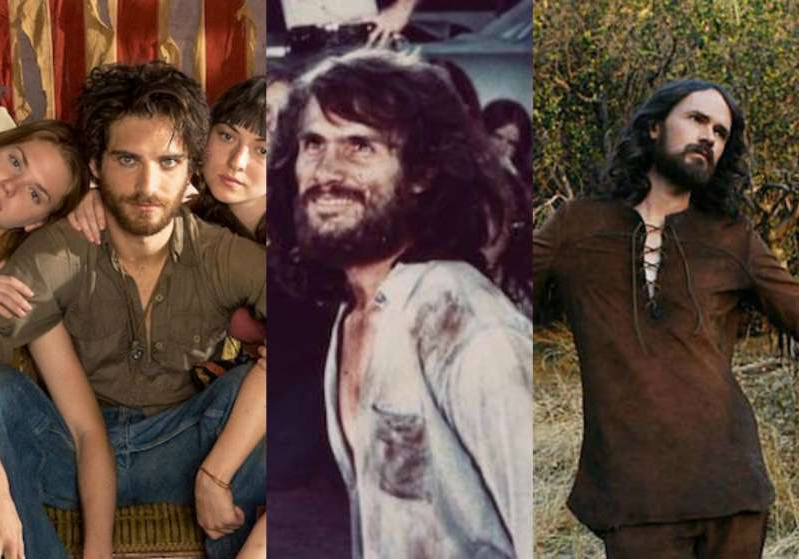 a group of people posing for the camera: Charles Manson Split