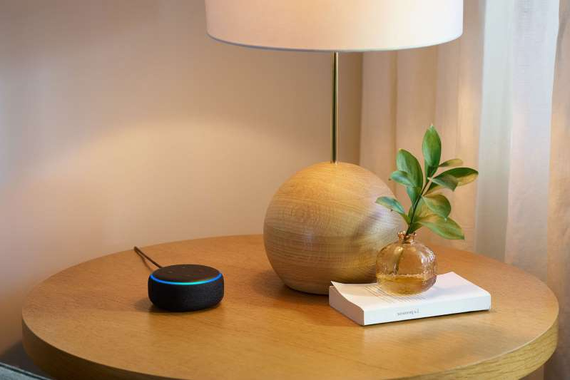 a vase sitting on top of a wooden table: smart speaker