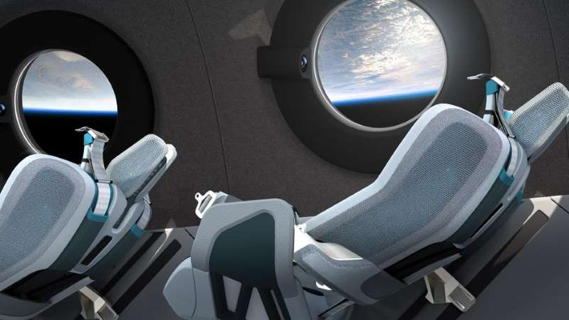 a view of a car: The seat and view that Virgin Galactic customers will enjoy about the spaceship VSS Unity. Virgin Galactic