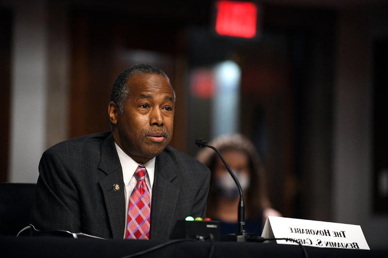Ben Carson wearing a suit and tie: Housing and Urban Development Secretary Ben Carson.