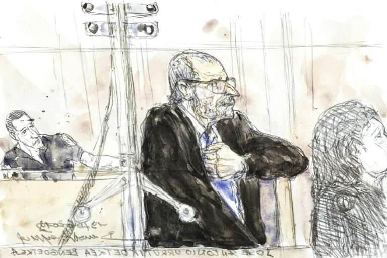 In this courtroom sketch created on June 19, 2019, former ETA Basque separatist leader Josu Ternera, who was arrested in France in May 2019 after 16 years on the run, looks on during his trial in Paris