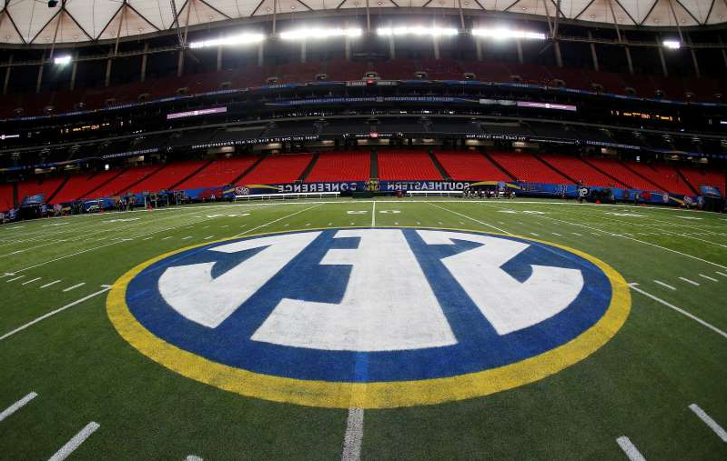 a large stadium: SEC players expressed their concerns about playing the college football season amid the COVID-19 pandemic during a call with conference officials on Wednesday. (AP Photo/John Bazemore, File)