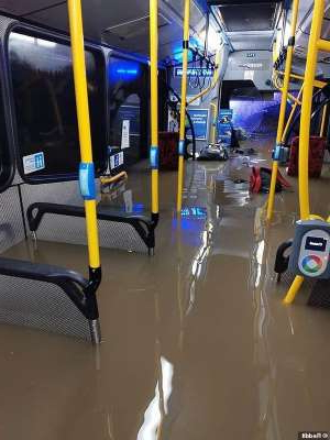 A new image of the inside of the bus that flooded in Newcastle, on the NSW North Coast, on July 27 appeared on the social media platform Reddit (pictured)