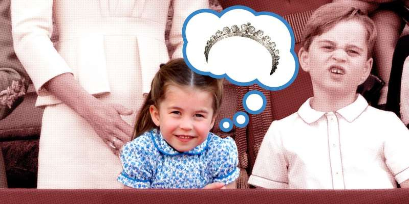 a person holding a baby: Prince William and Kate Middleton's daughter may have to wait a while before sporting a royal headpiece. Here are all the options for the little princess's first tiara moment.