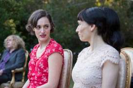 Phoebe Waller-Bridge et al. that are looking at the camera: Sian and Phoebe as Claire and Fleabag