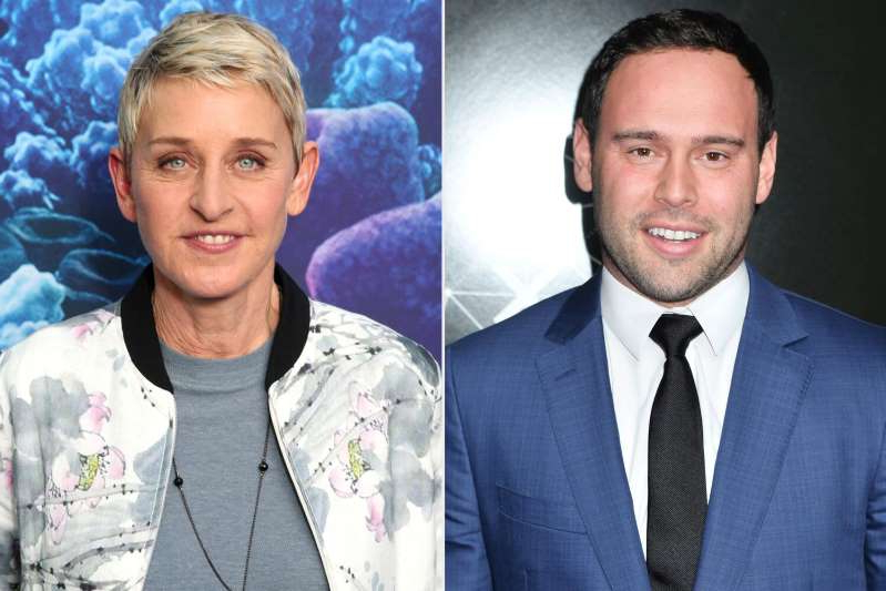 Scooter Braun, Ellen DeGeneres posing for the camera: ANGELA WEISS/AFP via Getty Images; Todd Williamson/Getty Images Scooter Braun and Ellen DeGeneres