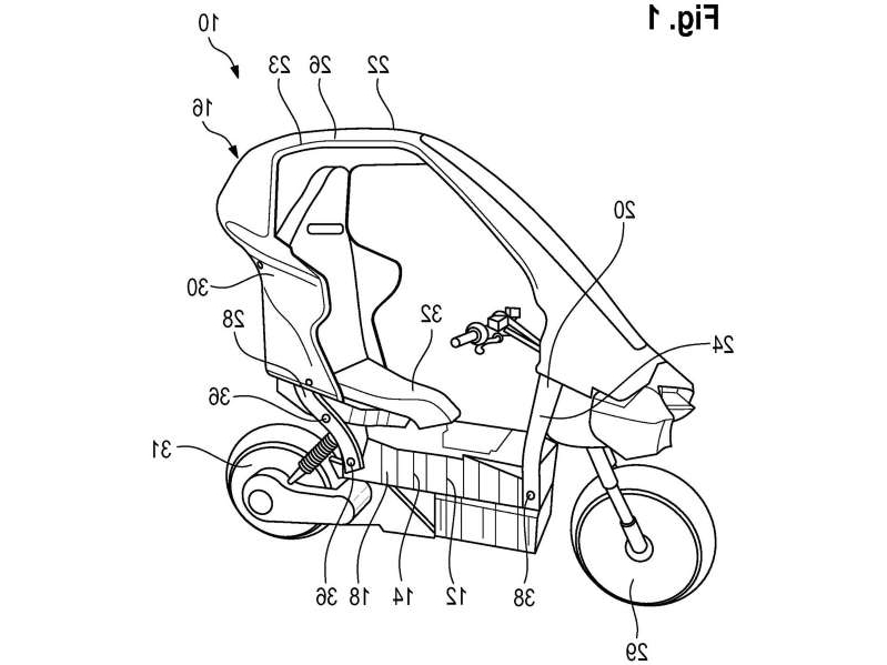 a close up of a map: Son of the C1? BMW's filed a flurry of new patents for a covered electric scooter that looks to expand on that model's idea.