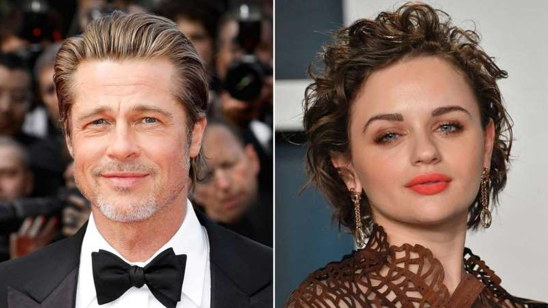 a close up of Joey King and woman posing for a photo: Joey King and Brad Pitt.