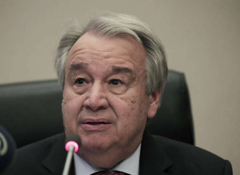 Antonio Guterres wearing a suit and tie: United Nations Secretary-General Antonio Guterres addressee a news conference in Addis Ababa