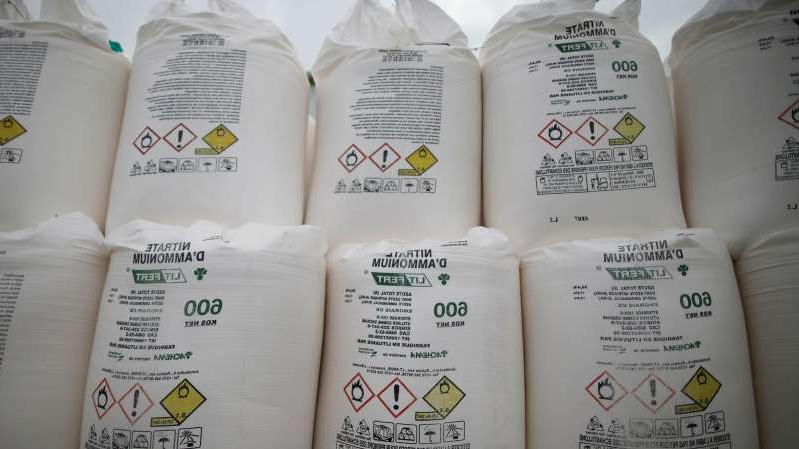 a lot of cheese on a paper: Bags containing ammonium nitrate fertiliser