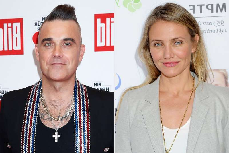 Cameron Diaz, Robbie Williams posing for the camera: Jon Kopaloff/FilmMagic; Franziska Krug/Getty Images