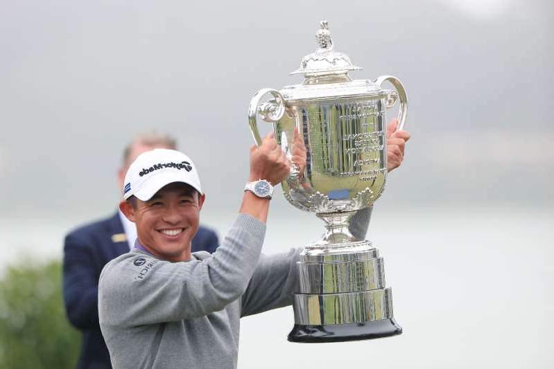 a statue of a person: Collin Morikawa triumphs at the PGA Championship. (Photo by Tom Pennington/Getty Images)
