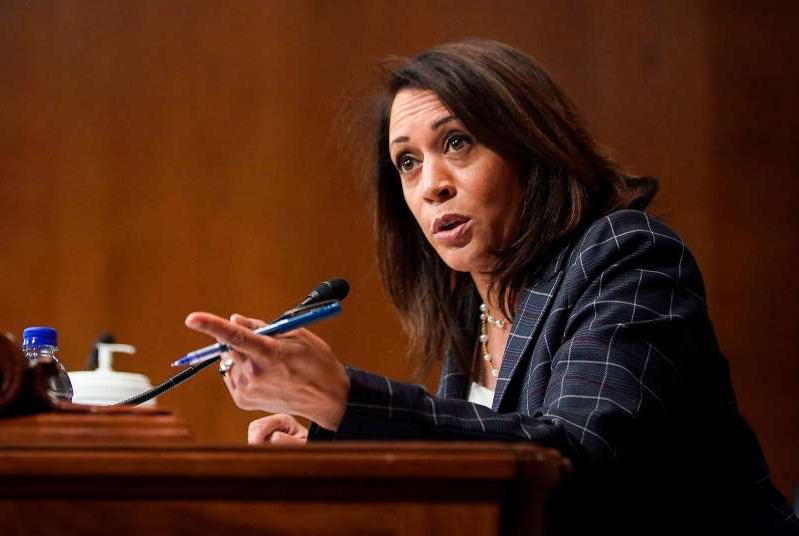 Kamala Harris sitting at a table using a laptop: Sen. Kamala Harris, D-CA, speaks during a Senate Homeland Security and Governmental Affairs hearing on June 25, 2020 in Washington, DC.