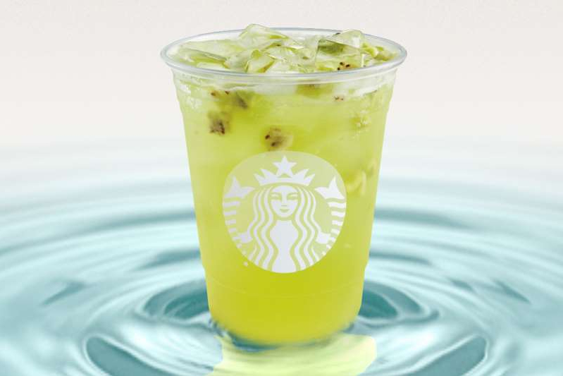 a cup of coffee and a glass of water: Starbucks Starbucks new Kiwi Starfruit Frefresher