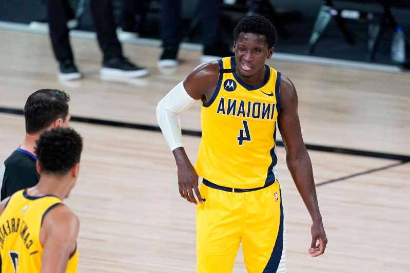 Victor Oladipo with a football ball: Victor Oladipo left Tuesday's Game 1 loss after nine minutes and did not return.