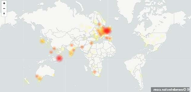 a close up of a map: It appears the outage is a global one, with a large concentration of issues centered in Europe and Australia. Outage tracker site DownDetector picked up problems 7:24am BST