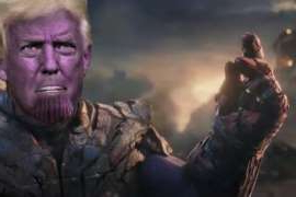Donald Trump looking at the camera: the late show with stephen colbert donald trump thanos rnc avengers endgame parody