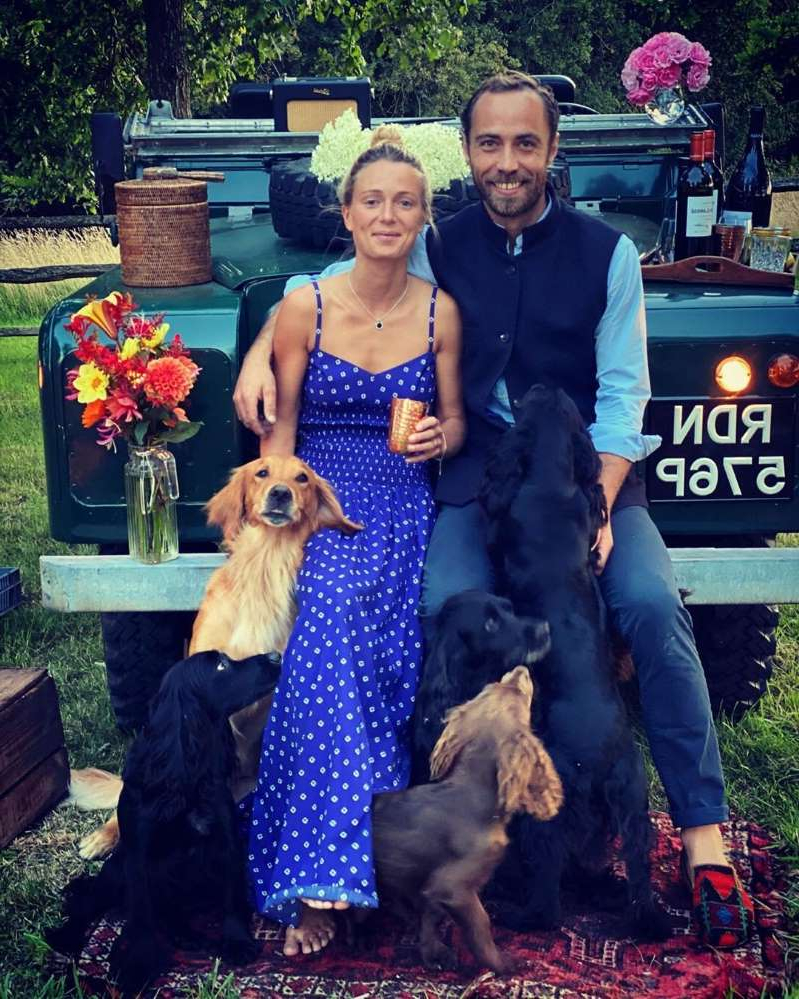 Family of Catherine, Duchess of Cambridge and a dog posing for the camera: James Middleton/Instagram James Middleton and Alizee Thevenet