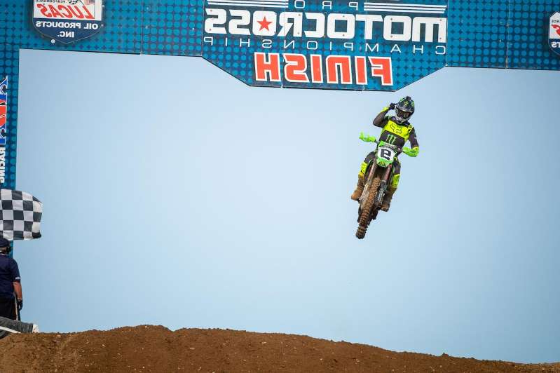 a man jumping in the air: Adam Cianciarulo celebrates Monday at RedBud, where he won his first 450 overall Pro Motocross event (Align Media).