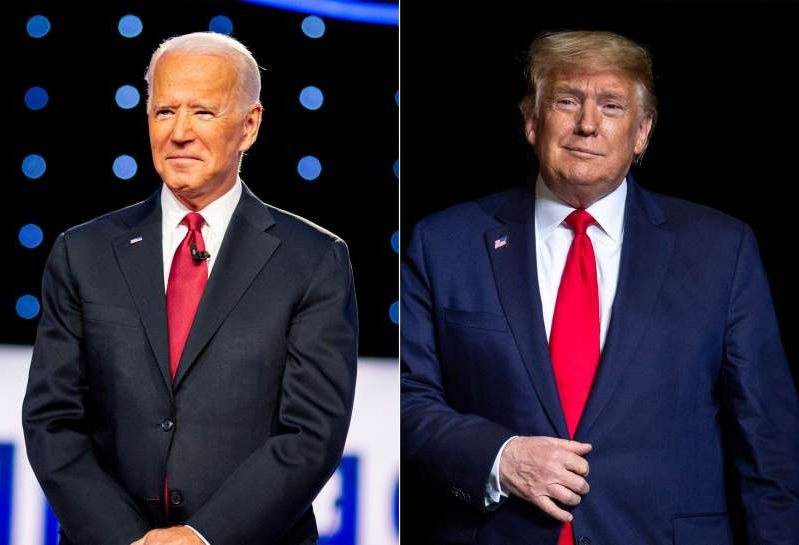 Donald Trump, Joe Biden are posing for a picture: President Donald Trump's supporters remain committed, though former Vice President Joe Biden leads in several polls.