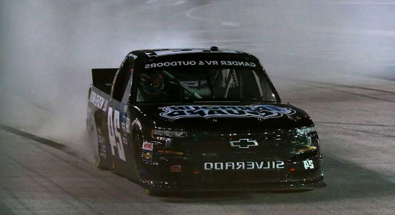 a close up of a car: Sam Mayer passes Moffitt late to earn first career Gander Trucks win at Bristol