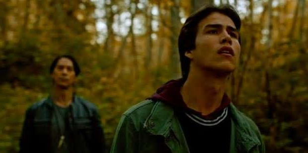 a man wearing a green shirt: Joel Oulette (left) plays Jared the teen at the centre of Trickster. Kalani Queypo plays the stranger named Wade who disrupts his life.