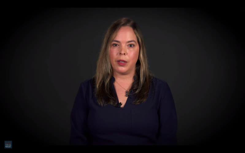 a person looking at the camera: Former Pence aide Olivia Troye appears in the latest Republican Voters Against Trump ad, in which she announced her endorsement of Democratic nominee Joe Biden for presdient.