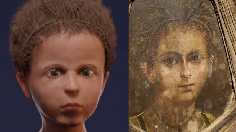 a person posing for the camera: The ancient Egyptian boy's