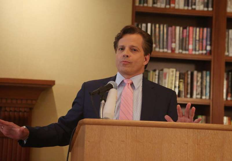 Anthony Scaramucci in a suit standing in front of a book shelf: Anthony Scaramucci at The Princeton Club of New York on August 22, 2018 in New York City. He now predicts Trump will lose the 2020 election if his opponents chip away his GOP support.