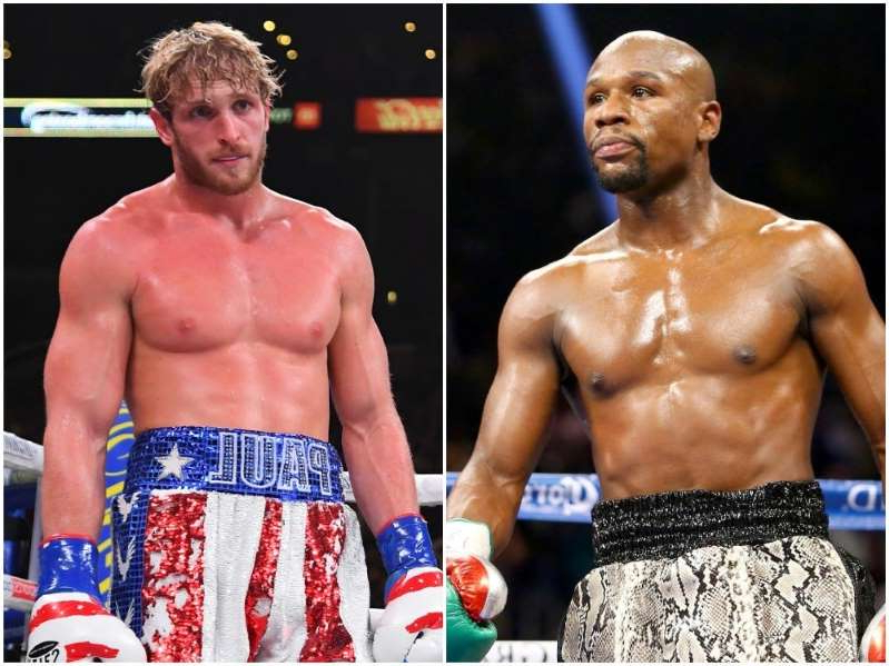 Floyd Mayweather Jr. et al. standing next to a man: Floyd Mayweather and Logan Paul. Photo by Al Bello/Getty Images and Jayne Kamin-Oncea/Getty Images