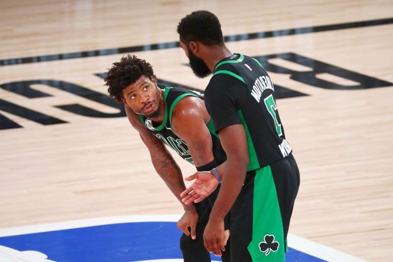 Did Boston Celtics guard Jaylen Brown (left) and guard Marcus Smart allow frustration get the best of them after a Game 2 loss?