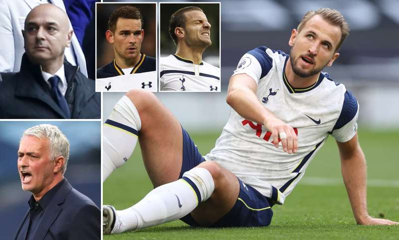 Harry Kane, Daniel Levy, Jose Mourinho are posing for a picture: MailOnline logo