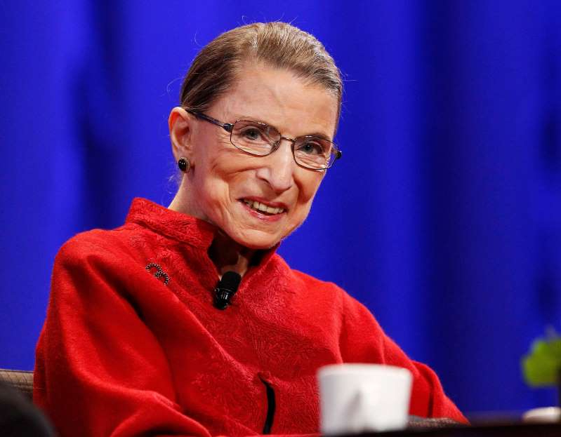 Ruth Bader Ginsburg wearing glasses: FILE PHOTO: Justice Ginsburg attends the lunch session of The Women's Conference in Long Beach