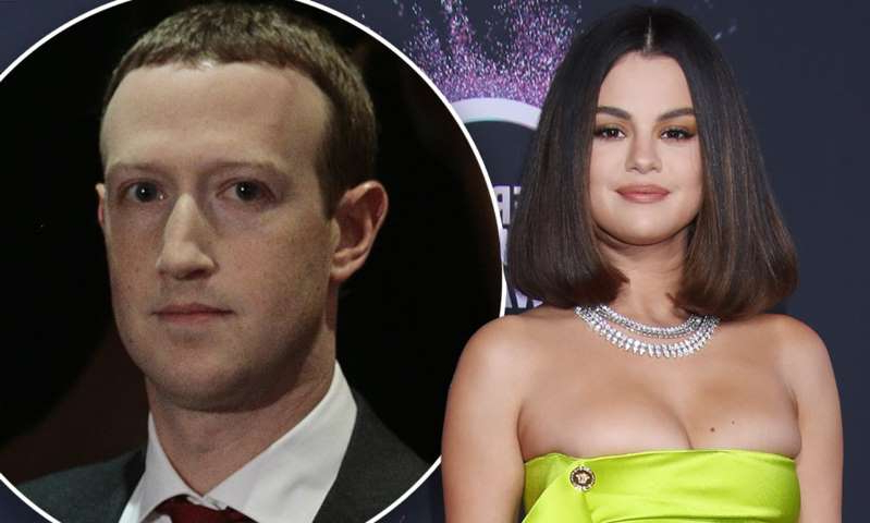 Selena Gomez, Mark Zuckerberg posing for the camera: MailOnline logo