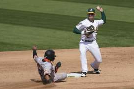a baseball player throwing a ball: Oakland Athletics second baseman Tommy La Stella (3) throws to first base after forcing out San Francisco Giants' Donovan Solano at second base during the sixth inning of a baseball game in Oakland, Calif., Saturday, Sept. 19, 2020. (AP Photo/Jeff Chiu)