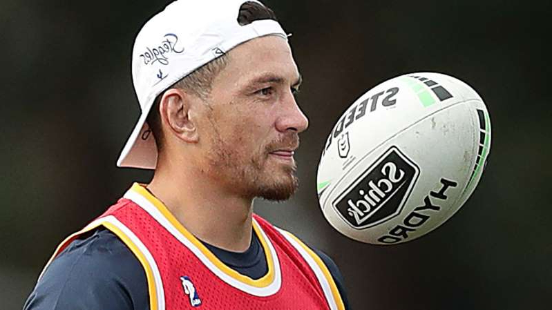 a close up of a man with a baseball glove: Sonny Bill Williams at a Roosters training session.