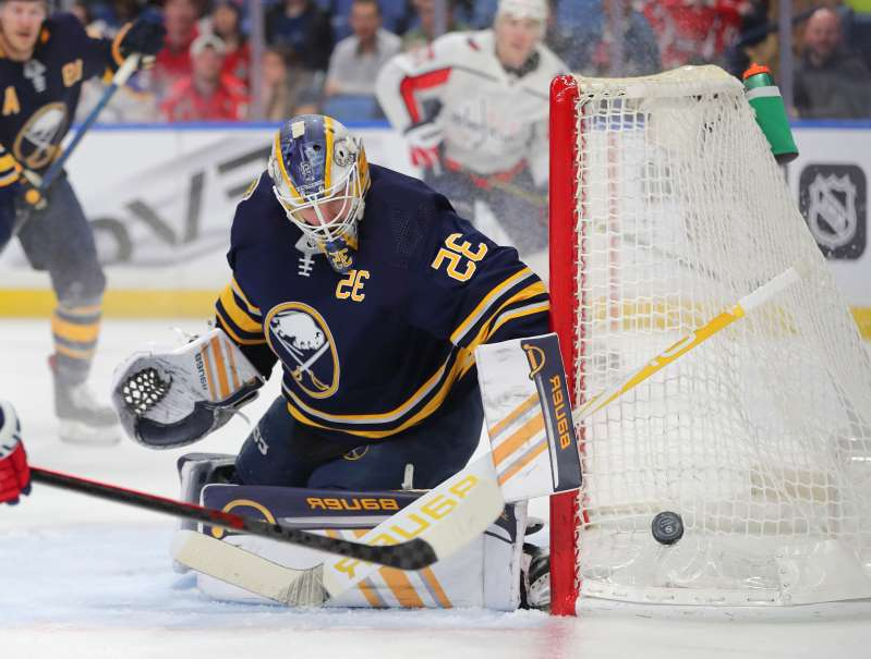 a group of people racing each other on a snow covered slope: Buffalo Sabres goaltender Linus Ullmark (35) is set to become a restricted free agent.