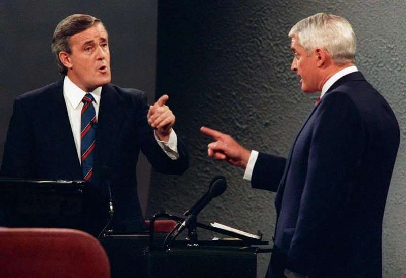 Brian Mulroney wearing a suit and tie